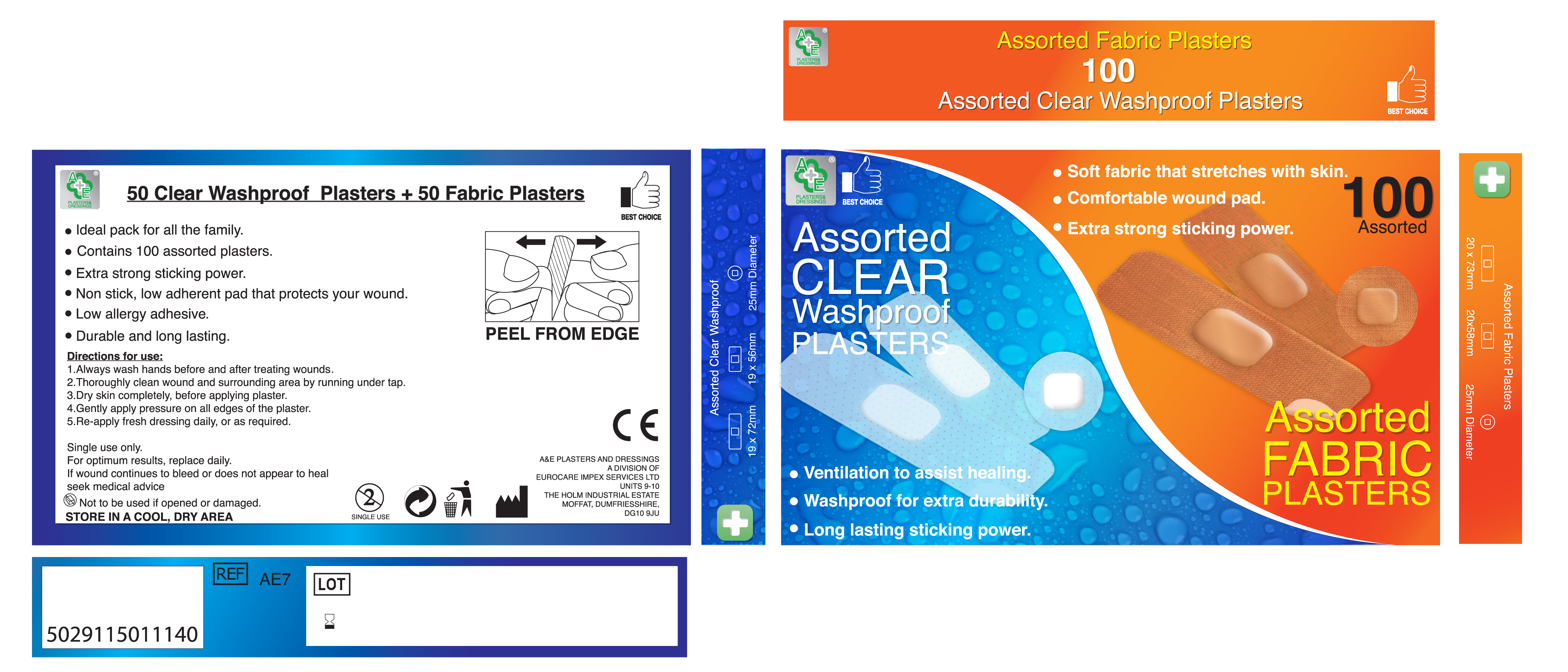 AE7 Value 100 Assorted Plasters - Fabric and Clear